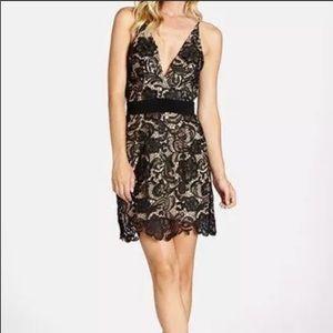 Dress the Population black embroidered mini dress